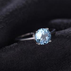 Image 3 - JewelryPalace אמיתי כחול טופז טבעת סוליטייר 925 סטרלינג כסף טבעות לנשים אירוסין טבעת כסף 925 תכשיטי אבני חן
