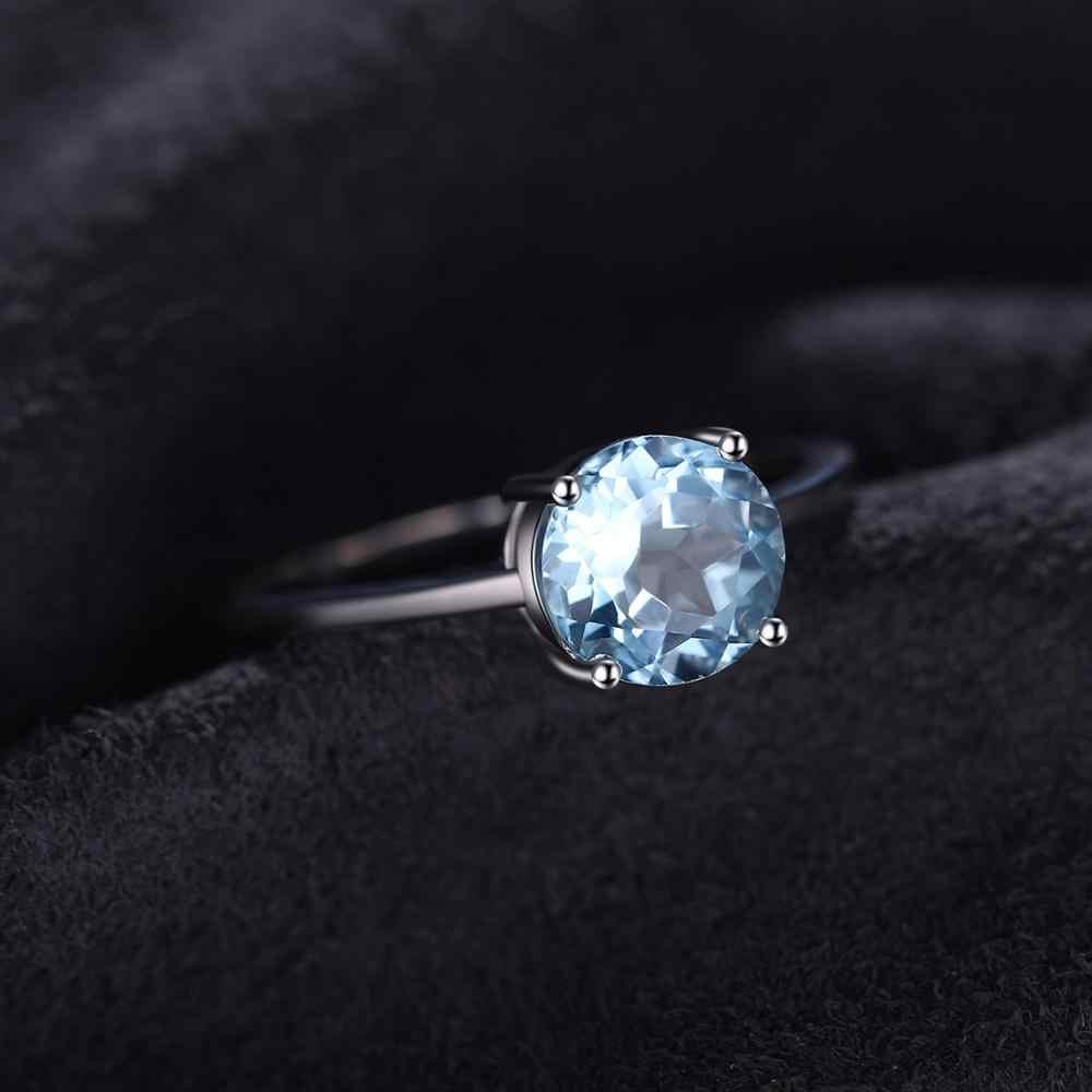 JewelryPalace ของแท้ Blue Topaz แหวน Solitaire 925 เงินสเตอร์ลิงแหวนแหวนหมั้นแหวนเงิน 925 เครื่องประดับอัญมณี