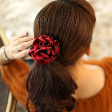 Women Fabric Flower Elastic Hair Band Girls Big Rose Floral Headwear Rubber Rope Ponytail Holder Scrunchie Accessories