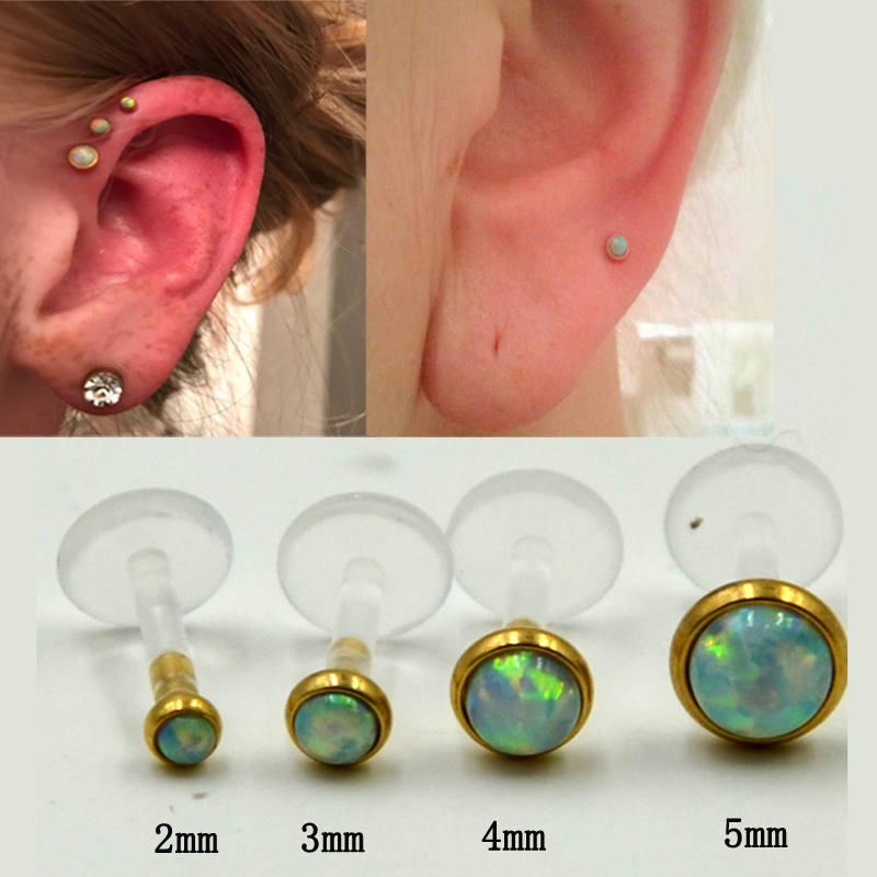 1Pcs Surgical Steel Opal Gem Labret Lip Rings Ear Helix Tragus Cartilage Studs Nose Stud 16G Piercing Body Jewelry