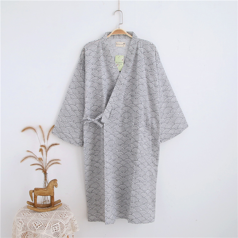 2019 Japanese Kimono Robes Men Spring Long Sleeved 100% Cotton Bathrobe Fashion Casual Dressing Gown For Men 062401