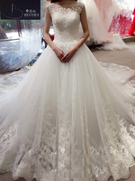 BRITNRY Vestido De Noiva Scoop Neck A Line Wedding Dresses 2017 Lace Long Train Vintage Wedding