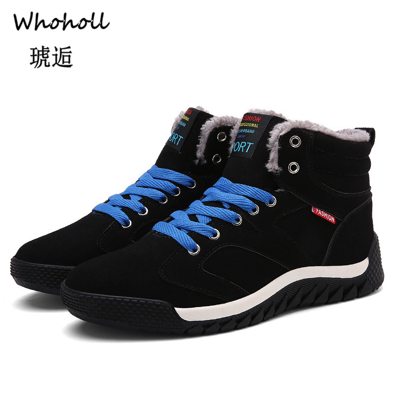 Whoholl Men Boots Winter with Fur 2018 Warm Snow Work Shoes Footwear Fashion Rubber Ankle 39-48