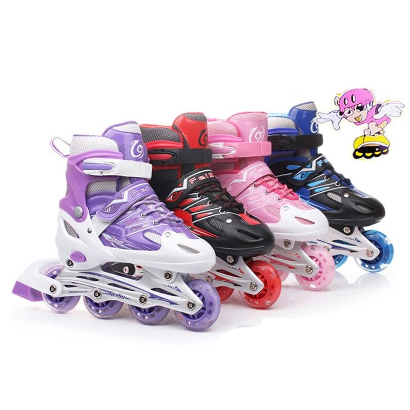 Inline Professional Women Adult Kids Slalom Sliding Ice Skates Skating Shoes Adjustable Washable Flash wheels Patines  Adulto