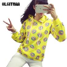 New Spring Autumn 2019 Cute Donut Print Pullovers Geometric Women Hoodies Sweatshirt Fashion Yellow