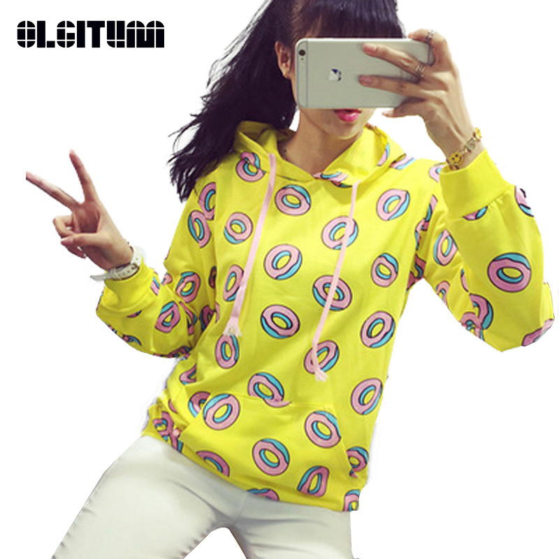 New Spring Autumn 2020 Cute Donut Print Pullovers Geometric Women Hoodies Sweatshirt Fashion Yellow BTS Unisex Sportwear Female