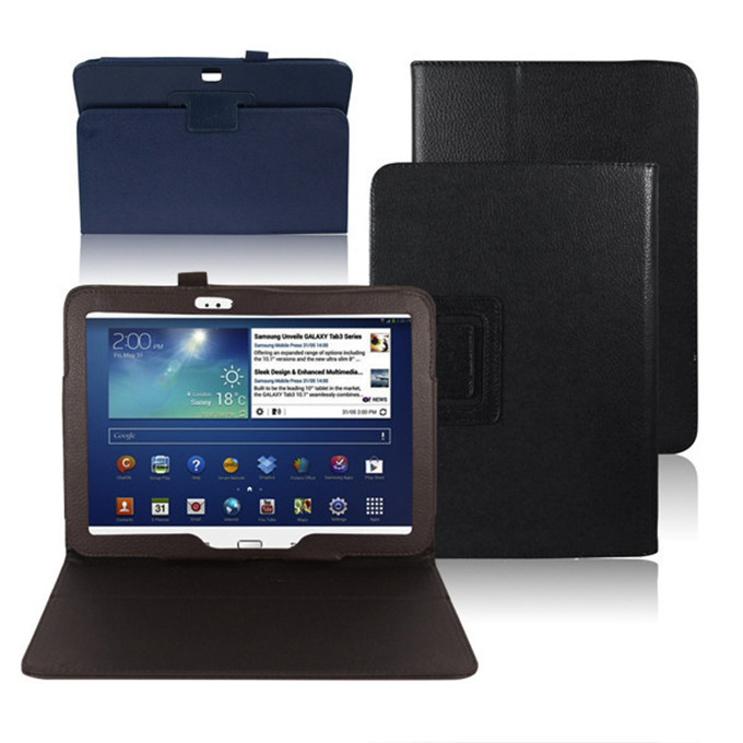 Folio Slim Leather Case for Samsung Galaxy Tab 3 P5200 10.1 inch Tablet Auto Sleep/Wake Book Style Stand Cover with Stylus Loop