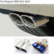 car Styling cover muffler exterior end pipe dedicate stainless steel exhaust tip tail outlet For Peugeot