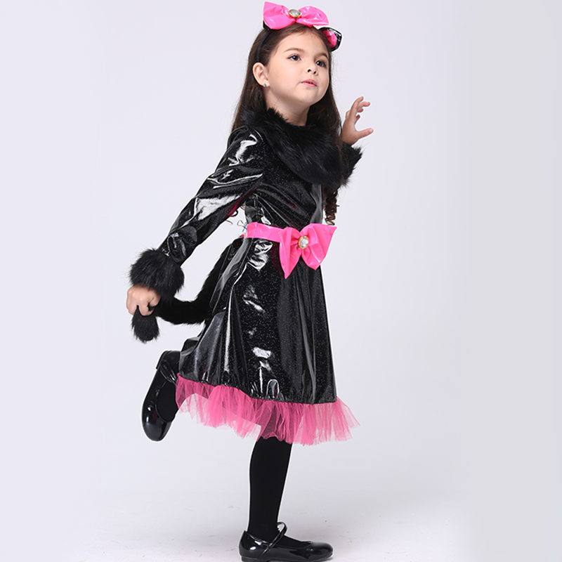 Toddler Costume Kids Cat Girls Dress With Headband And Tail Carnival Party Fancy Halloween Cosplay Costume Dancewear EK110