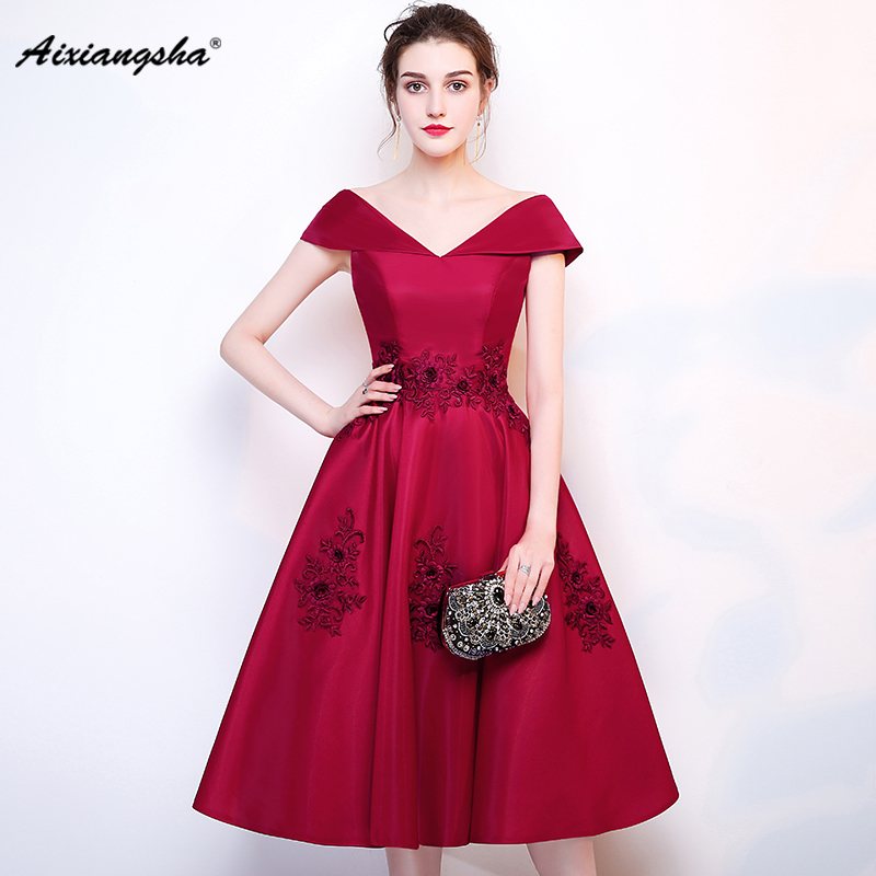 18 Red Vestido coktail women New cocktail   dresses   Bride Married Banquet Short   Prom     Dress   Plus Size Party evening Formal gown