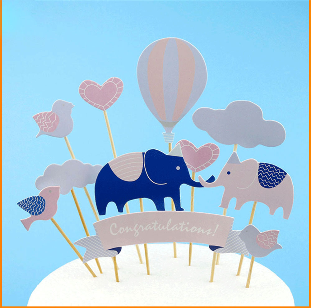 1set Elephant Lovely Happy Birthday Cupcake Cake Topper Cake Flags Baby Shower Birthday Party Decoration Children Party Supplies in Party DIY Decorations from Home Garden
