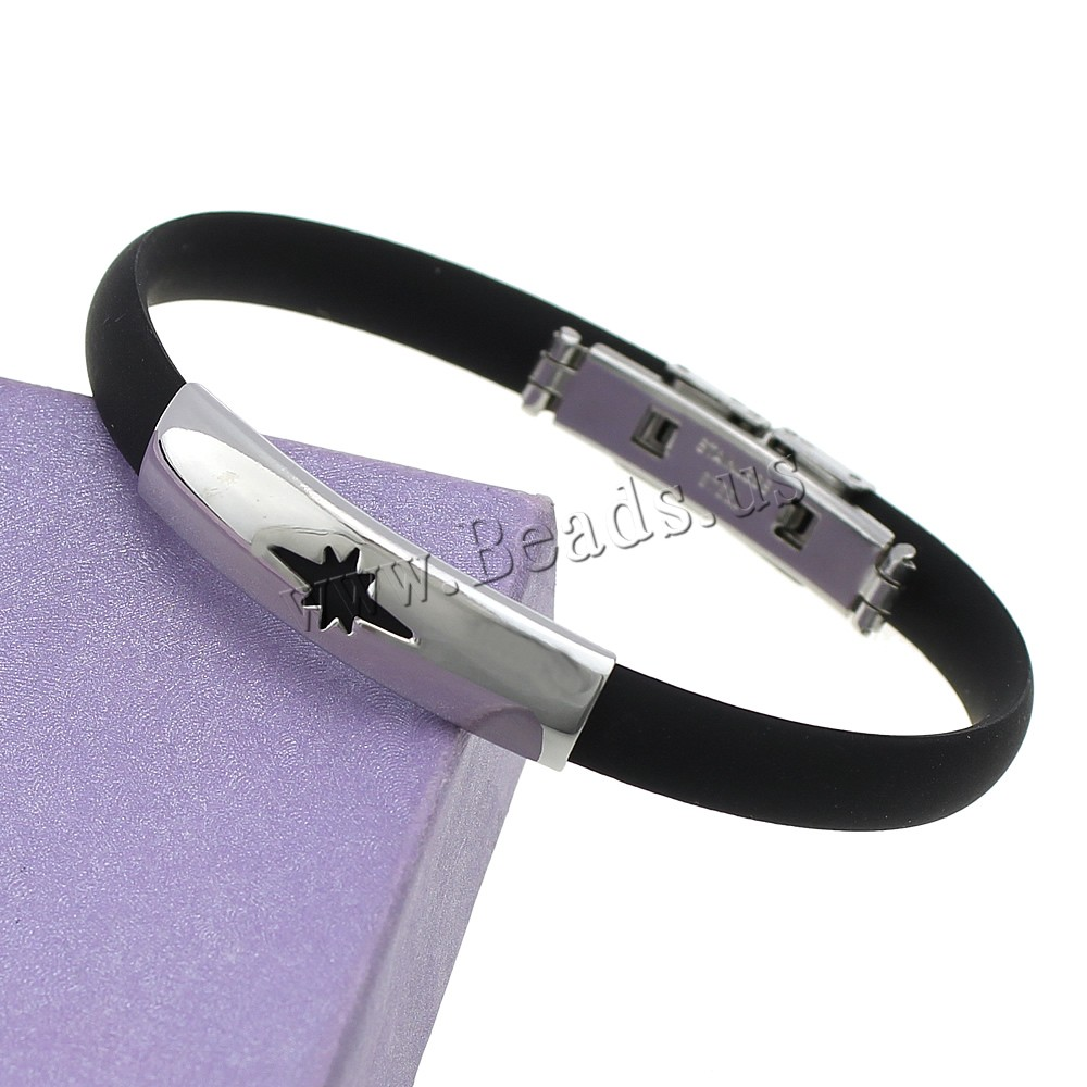 Moda de acero inoxidable negro silicona pulseras Bangels mujeres hombres  flor encanto plata amistad wristband joyería Accesorios 0b6d4203d3f