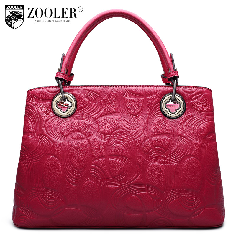 hot ZOOLER big sales hot genuine leather bag famous brand solid embossed 100% cowhide top handle bag bolsa feminina#2651 new product sales zooler brand zipper cowhide bag top handle shoulder bag simply solid genuine leather bag women bag bolsas c108