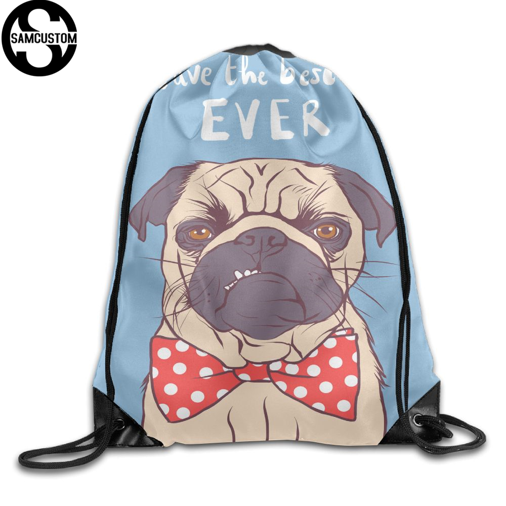 SAMCUSTOM Wearing a bow tie PUG 3D Shoulders Bag Fabric Backpack men and women Port Drawstring Travel Shoes Dust Storage Bags kai yunon women sparrow drawstring beam port backpack shopping bag travel bag aug 24