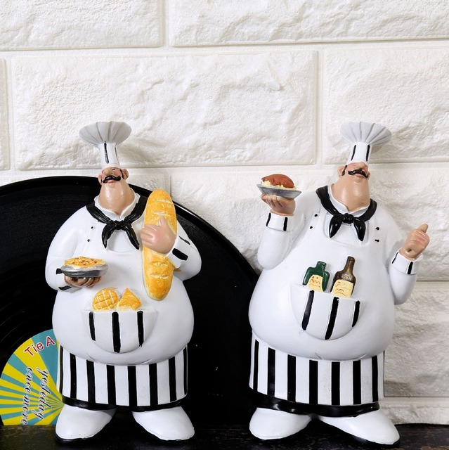 Set Of 2 Home Decor Resin Fat Chef Serving Figurine Wall Mounting Plaque Ornament