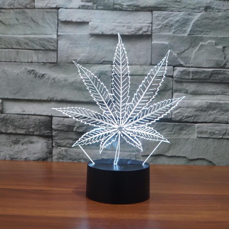 Marijuana Leaf 3D Illusion Lamp Cananbis Weed Optical Visual Room Party Deco Novelty Lighting Manufacturer LED Night Light