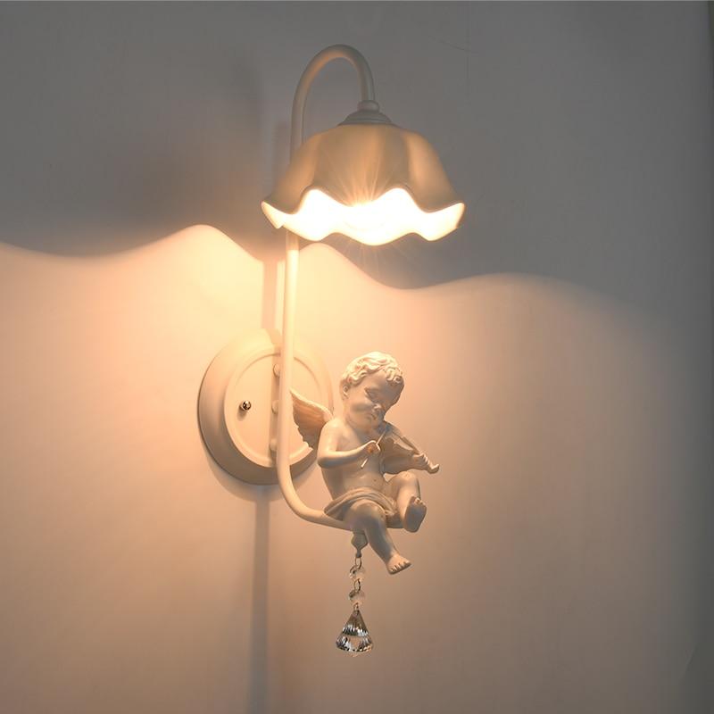 modern lustres angel glass wall light children bedroom bedside globel wall lamp e27 luminaire wall sconce - Wall Light Fixtures For Bedroom