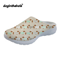 doginthehole Outdoor Beach Shoes for Women Dachshund Dog Printing Womens Clogs 2019 Sport Sandals Mesh Flat Water Shoes Slippers