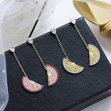 Ruifan Korean Moon/Watermelon/Sector Colorful Cubic Zircon Women Earrings Pearl Rhinestone Drop Earring Fashion Jewelry YEA346
