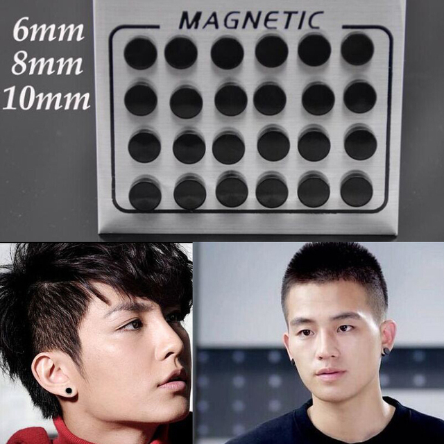 New Black 6 8 10mm Magnet Stud Earring Fake Earrings Magic For