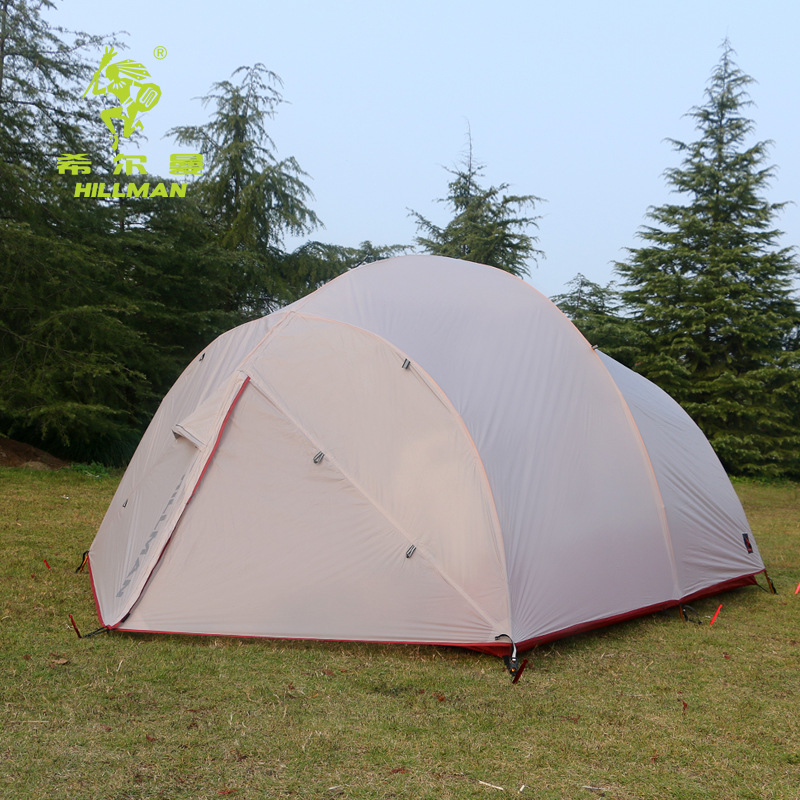 New arrival high quality Hillman 3 4 person double layer silicon coated waterproof ultralight camping tent