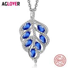 AGLOVER Charm 925 Silver Necklace Women Fashion Leaf Pendant 100% Sterling AAAA Zircon Fine Jewelry