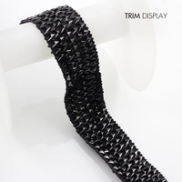 Lace Fabric Elastic Stretch Black Ribbon Trim Applique Scrapbooking Venise Decorated Craft Sewing Supplies for Belt 30yards/T893