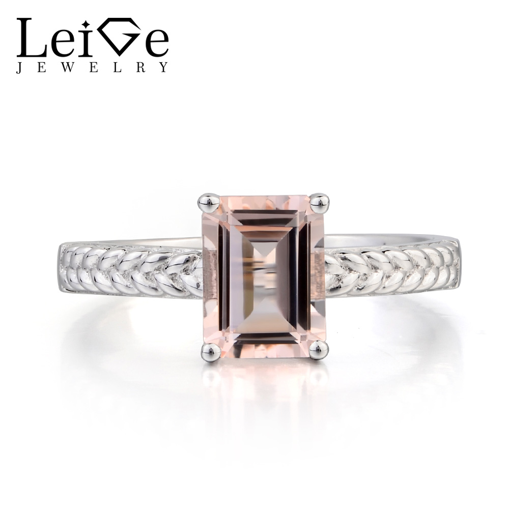 цена Leige Jewelry Morganite Engagement Ring Natural Pink Morganite Ring Emerald Cut Pink Gems 925 Sterling Silver Ring Gifts for Her