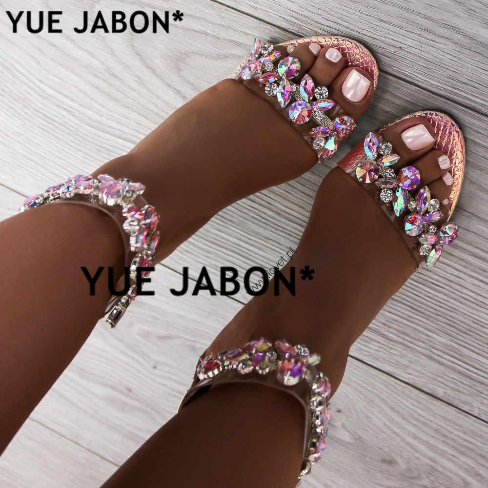 6e7ff99b1 YUE JABON Big Size 43 Women Heeled Sandals Big Rhinestone Ankle Strap Pumps  Square Heels Lady