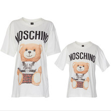 New Fashion 2016 Family Clothing Cotton Short Sleeved Cartoon Print Mother Baby Clothes T-shirts Tops Family Matching Outfits