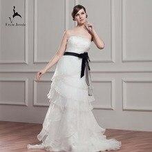 Eren Jossie Competitive Ivory Wedding Gown With Black Belt