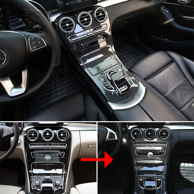 For Mercedes Benz C class W205 2015-2017/GLC X253 2016-2017 Center Console Panel Decoration Cover Trim Carbon fiber color 2pcs car center console panel decoration cover trim carbon fiber car styling 2pcs for mercedes benz new e class w213 200 300 2016 17