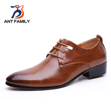 ANT FAMILY Business Men's Basic Casual Dress Shoes,Elegant Genuine Leather Pointed Black/Brown Flat,Meeting Office Formal