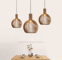 Modern Creative Wood Birdcage E27 bulb Pendant light norbic home deco bamboo weaving wooden Sphere Led Pendent Light