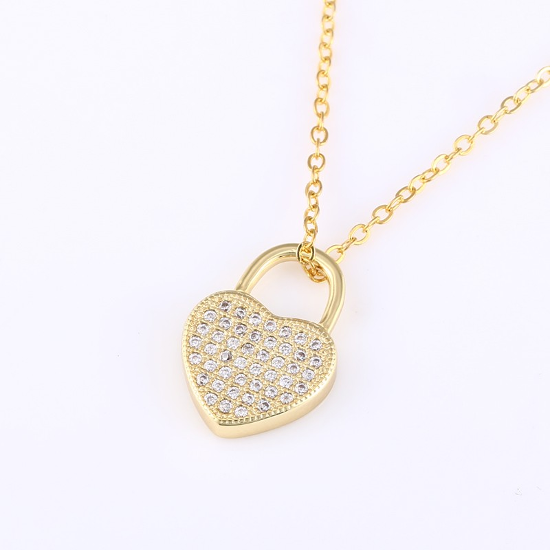 3 colors micro paved cz heart lock necklace personalized best 3 colors micro paved cz heart lock necklace personalized best friends pendant friendships clavicle chain heart lock for friends in chain necklaces from aloadofball Images