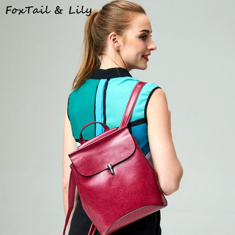 FoxTail & Lily Women Genuine Leather Backpack Oil Wax Cow Leather Vintage Shoulder Bag Luxury Brand School Backpacks for Girls women s oil wax genuine cowhide leather backpack lady girl school bag crossbody shoulder travel bag for woman mr1037