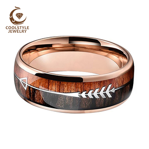 Image 2 - Wedding Rings For Men And Women Rose Gold Tungsten Wedding Band With Arrow And Double Woods Inlay