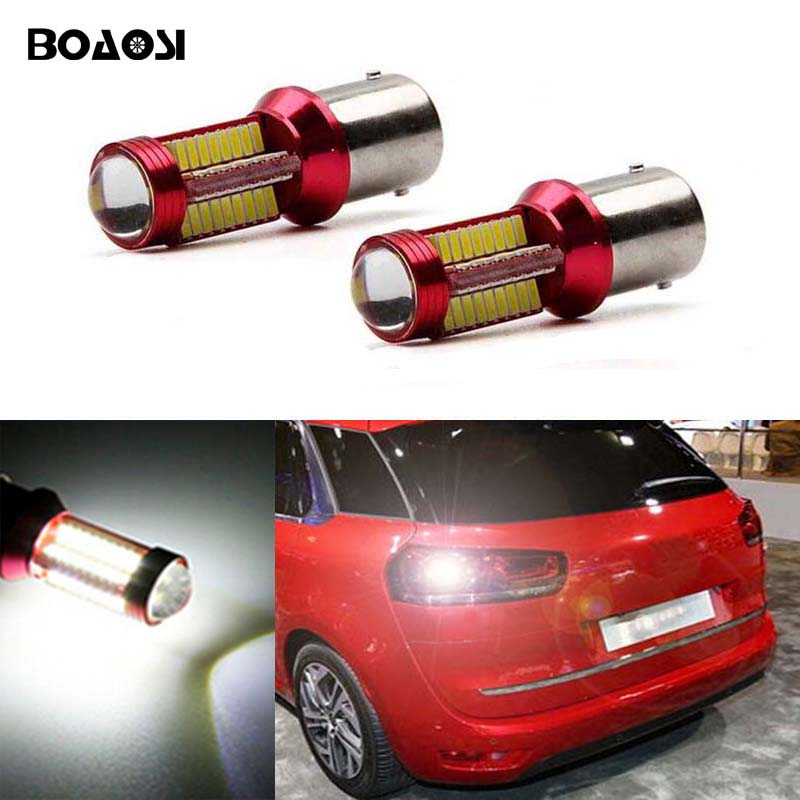 BOAOSI 2x 1156 P21W BA15S CREE Chips Car LED Reverse Bulb Rear Light For Citroen C2 C3 C4 C8 Elysee Picasso ZX error free 1156 socket 360 degrees projector lens led backup reverse light r5 chips replacement bulb for peugeot 307 2003 2012