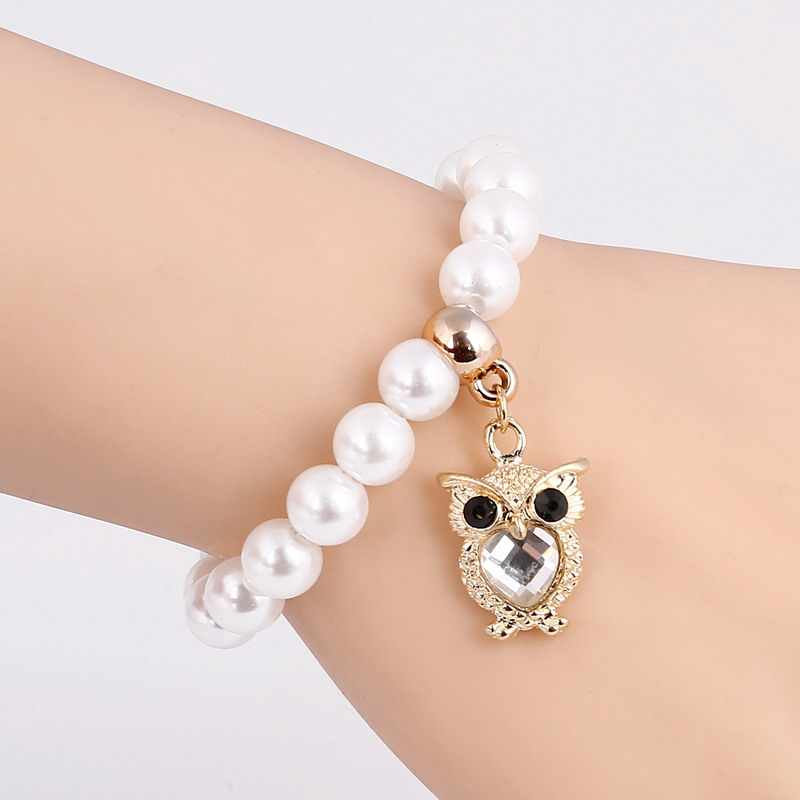 Красивый кристалл сова дизайн кулон Jewelry Высокое качество весь жемчуг браслет с бусами Для женщин аксессуар для торжества