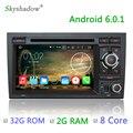 8 núcleo 2G RAM 32G ROM Android 6.0.1 Rádio DVD Player do Carro Para Audi A4 2003 2004 2005 2006 2007 SEAT EXEO 8F B9 RS4 S4 8E B7 RNS-E