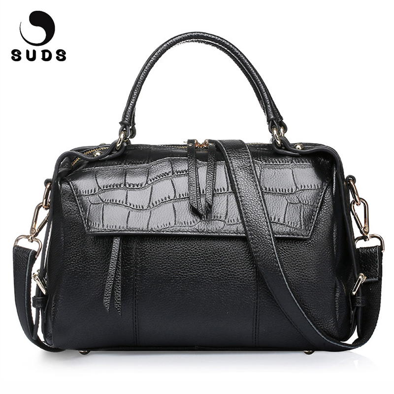 SUDS Brand Women Bag Genuine Leather Alligator Handbag High Quality Female Big Capacity Crossbody Bag Lady Cow Leather Tote Bags suds brand women casual 100
