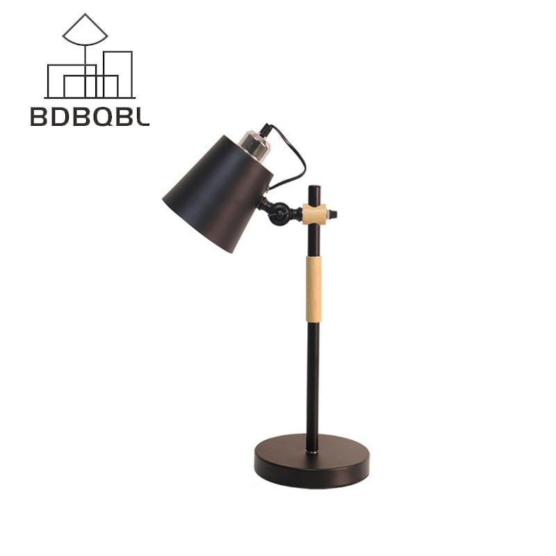 BDBQBL Vintage Log Wood Desk Lamp Loft Nordic American Study Reading Light Art Bedroom Livingroom Lighting Fixture Table Lamp