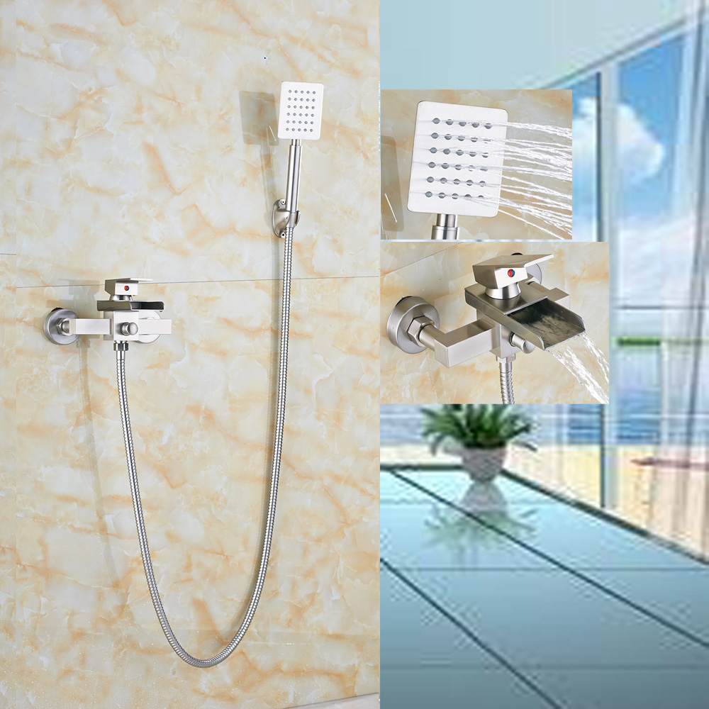 Brushed Nickel Waterfall Bathtub Faucet Wall Mount Mixer Tap W/Brass Hand Shower free shipping polished chrome finish new wall mounted waterfall bathroom bathtub handheld shower tap mixer faucet yt 5333