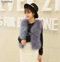 Hot Sale New 2017 Women Winter encryption 100% natural ostrich feathers turkey feather fur vest vest fur coat Fur vest