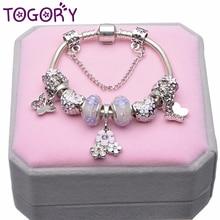 TOGORY Серебряная цветная змеиная цепь браслет с подвеской в виде цветка и бабочки Fien браслет для детей ювелирные изделия для девочек подарок