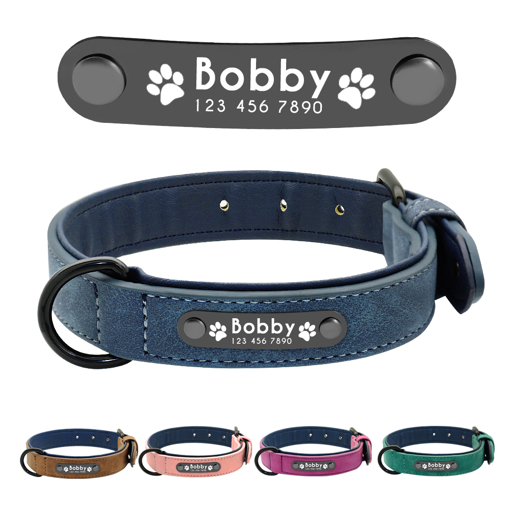 Dog Collars Personalized Custom Leather Dog Collar Name ID Tags For Small Medium Large Dogs Pitbull