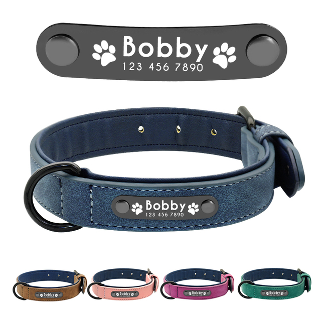 Personalized Leather Collar ID Tags For Small Medium Large Dogs