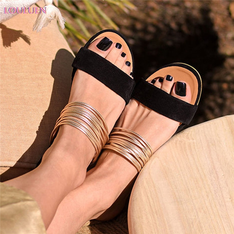 LOULUEN Sandals Shoes Slippers Retro Flat Flat-One-Word Roman Plus-Size Womens Peep-Toe title=