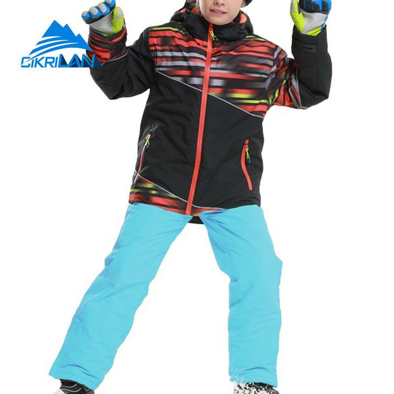 Nouveau enfants imperméable à l'eau en plein air Snowboard Ski ensemble hiver coton rembourré veste neige pantalon garçons Snowproof épais Ski enfants costume