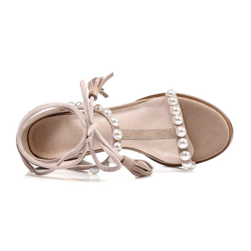 Marque 43 Chaussures luo Cheville wrap Doratasia Noir Enfant D'été Talons 33 Se Femme Naturel Chunky Grande Sandales Taille Suede 2018 Perles Haute q6xEgOAx